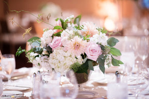 Luxe garden centerpiece for Alexandria mini wedding
