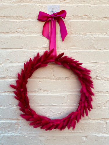 Hot Pink Bunny Tail Wreath, finished with matched satin bow
