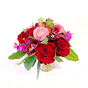 Premium Mixed Floral Arrangement with roses, ranunculus, orchids, stock, and foliage