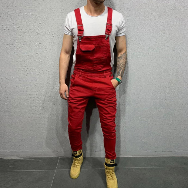 Men's Casual Slim Solid Color Jumpsuit