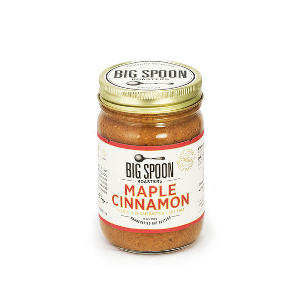 Jar of Big Spoon Roasters palm oil-free Maple Cinnamon Peanut and Pecan Butter