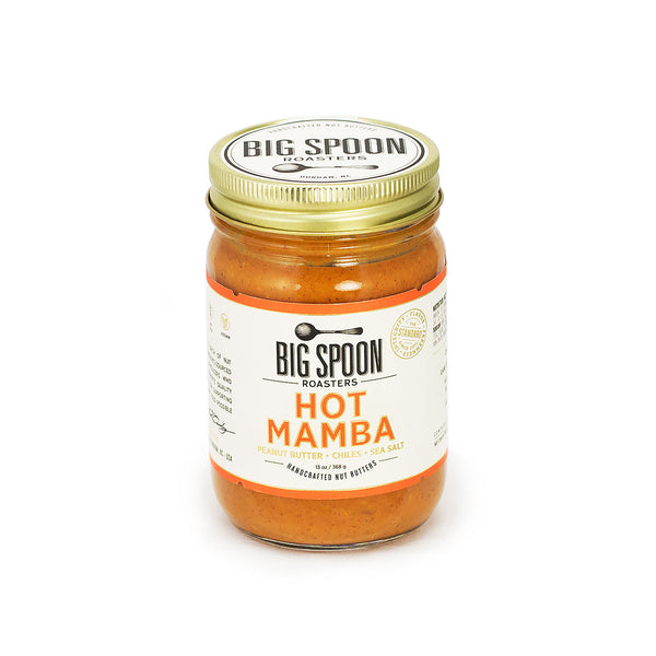Jar of Big Spoon Roasters palm oil-free Hot Mamba Peanut Butter