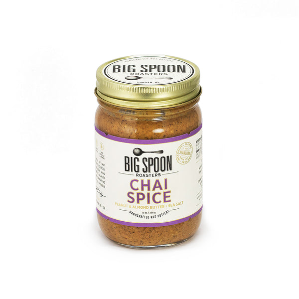 Jar of Big Spoon Roasters palm oil-free Chai Spice Peanut and Almond Butter
