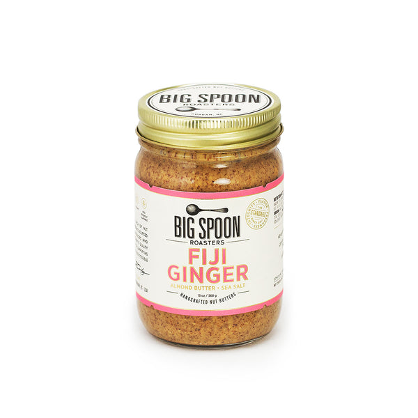 Jar of Big Spoon Roasters palm oil-free Fiji Ginger Almond Butter