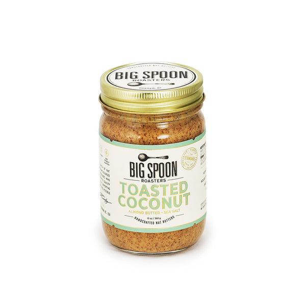 Jar of Big Spoon Roasters palm oil-free Toasted Coconut Almond Butter