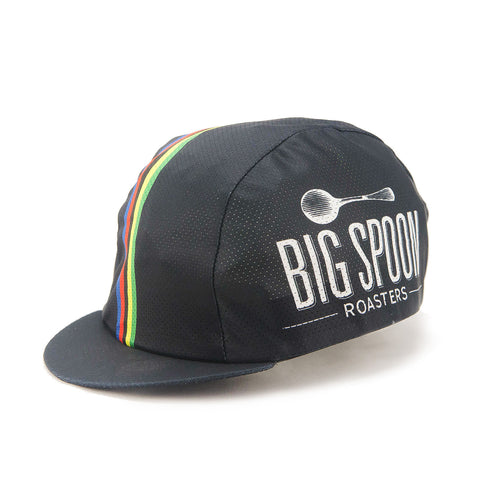 Front of classic cycling cap with Big Spoon Roasters logo.