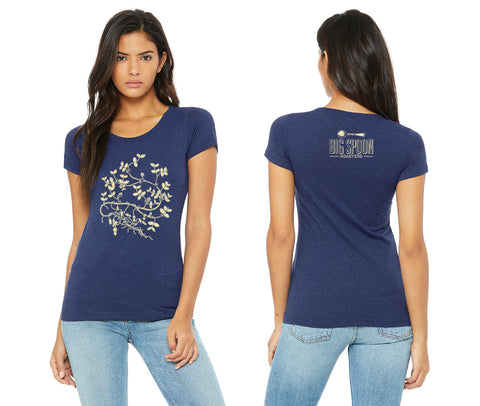 Front and back of 2018-2019 Big Spoon Roasters women's, blue t-shirt with peanut plant.