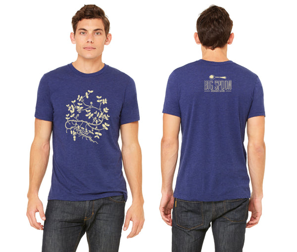 Front and back of 2018-2019 Big Spoon Roasters unisex blue T-shirt with peanut plant.