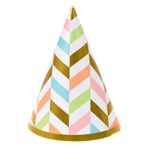 Pastel & Gold Lines Doggie Birthday Hat