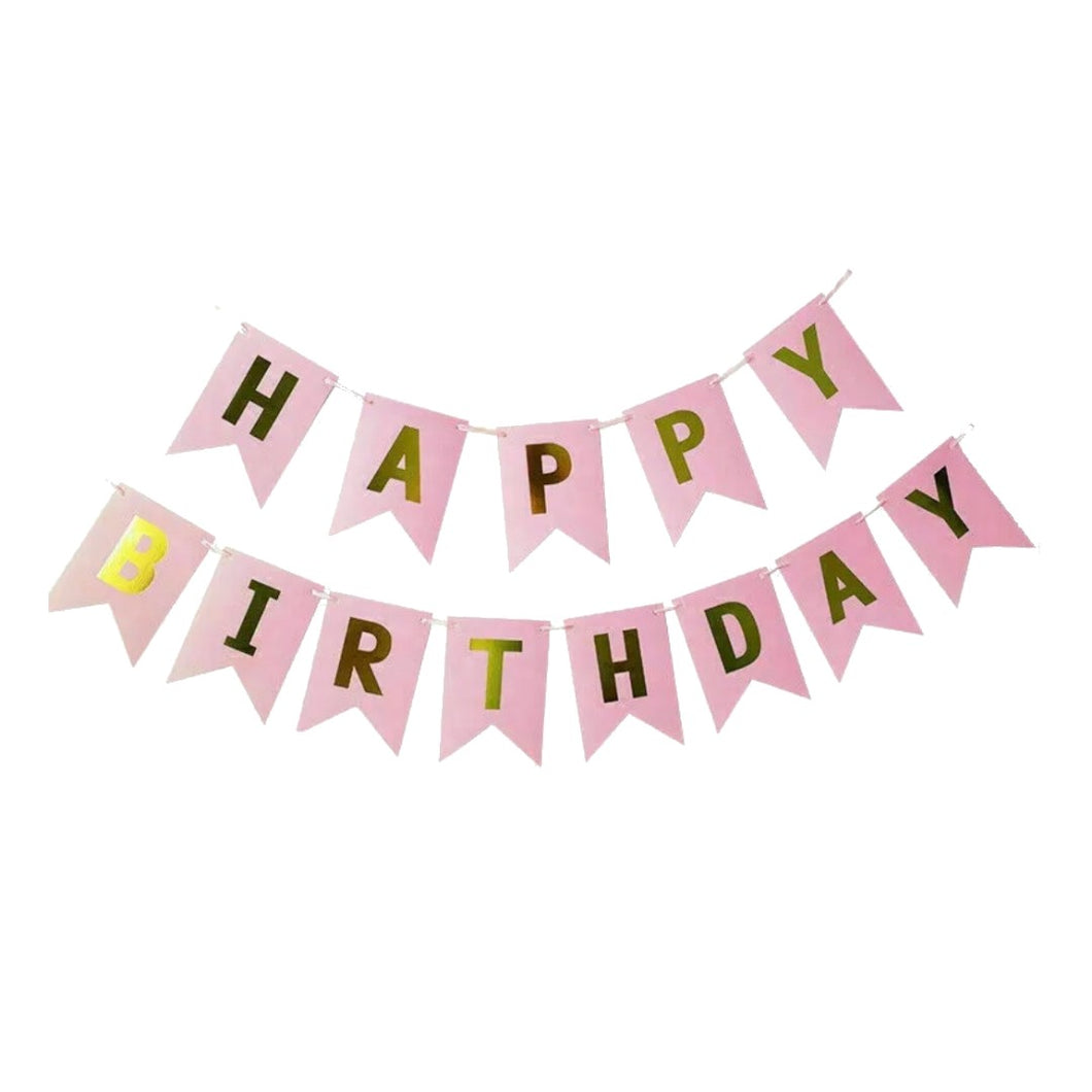 Peach & Gold Happy Birthday Banner
