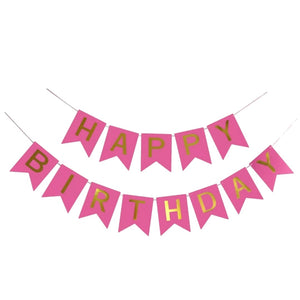 Fuchsia & Gold Happy Birthday Banner