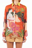 Oversize Silk Shirt - Dream Orange