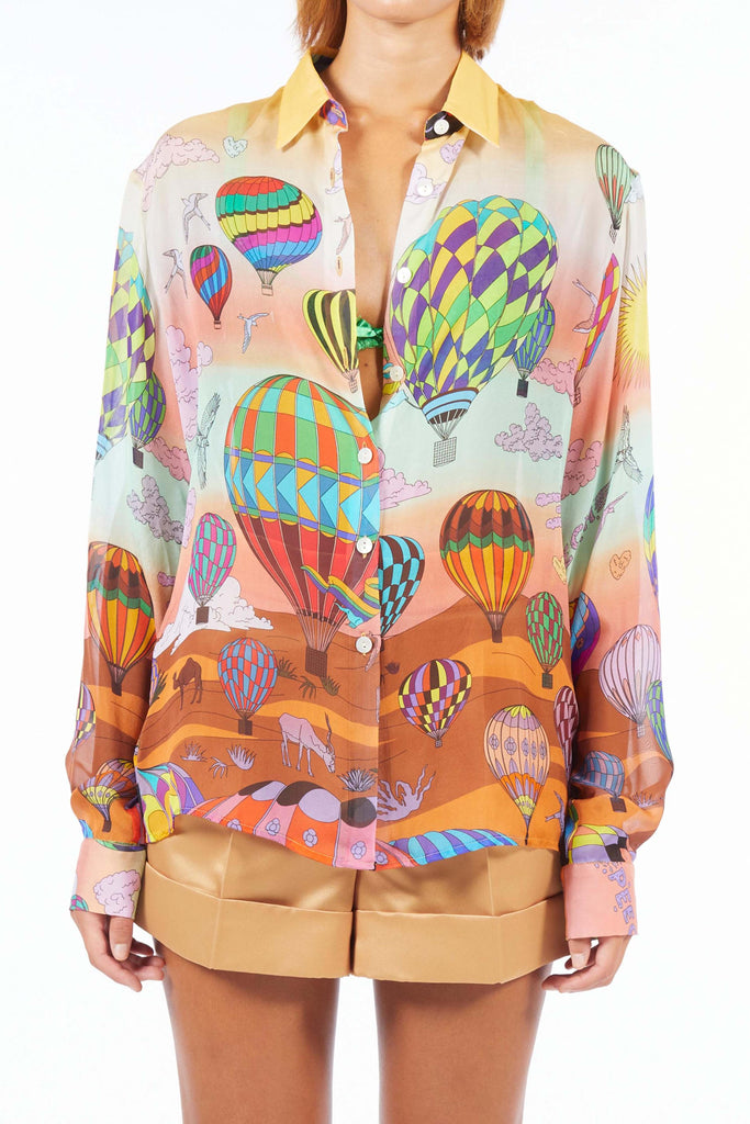 Oversize Silk Shirt - Gold Balloon
