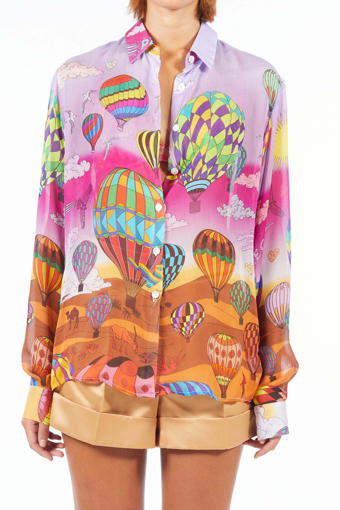 Oversize Silk Shirt - Rose Balloon