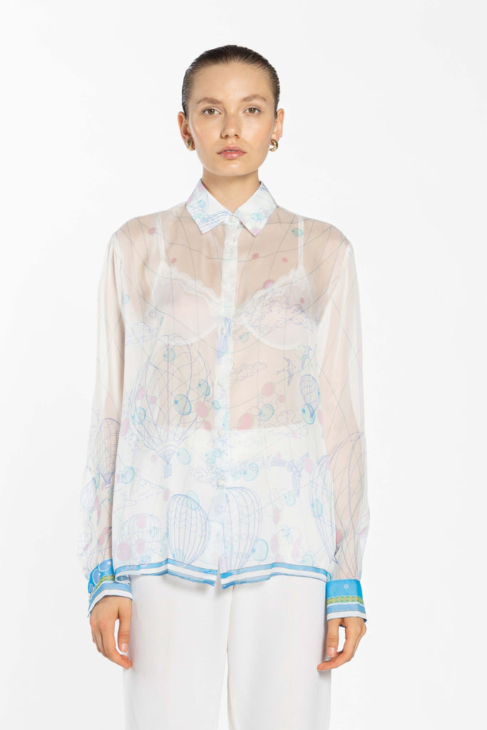 Chiffon Oversize Shirt - White Ball