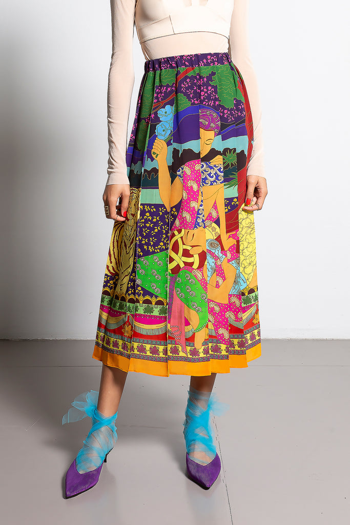 Pleated Silk Skirt - Indian Femme