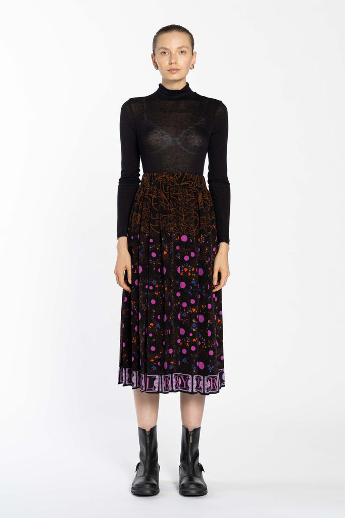 Pleated Silk Skirt - Autumn