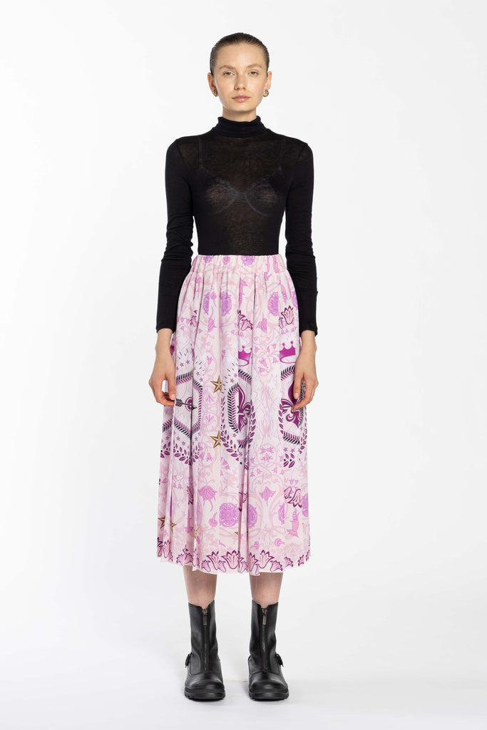 Pleated Silk Skirt - Baby Peech