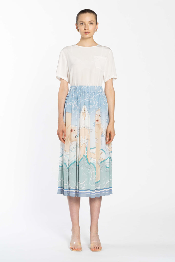 Pleated Silk Skirt - Blue Venus