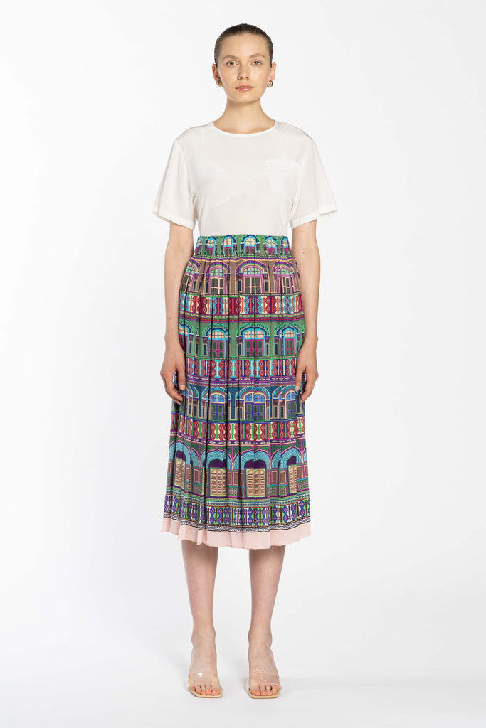 Pleated Silk Skirt - City Peech