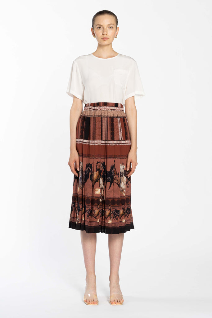 Pleated Silk Skirt - Horses