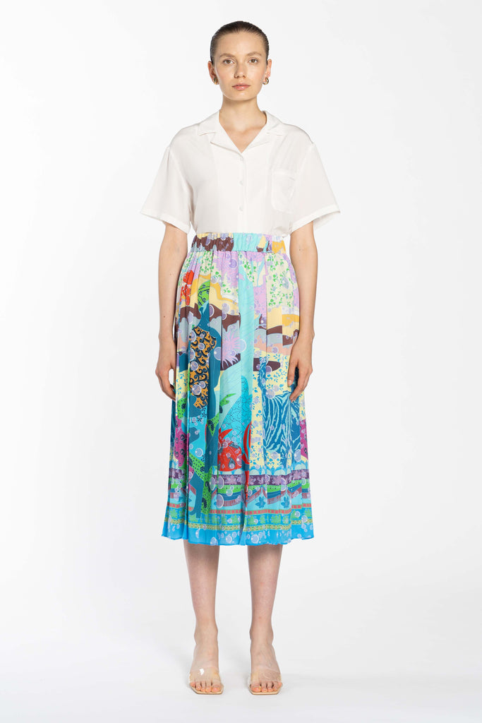Pleated Silk Skirt - Indian Venus