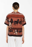 Boxy Shirt With Pocket - Horses