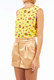 Sleeveless Silk Top - Yellow Flower