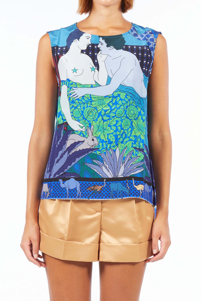 Sleeveless Silk Top - Dream Blue