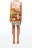 Sleveless Silk Dress - Camel Bronze