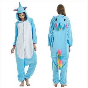 Adult Animal One Piece Unisex Pajamas - Blue Pegasus / S
