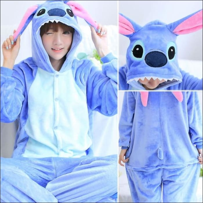 Adult Animal One Piece Unisex Pajamas - Blue Stitch / S