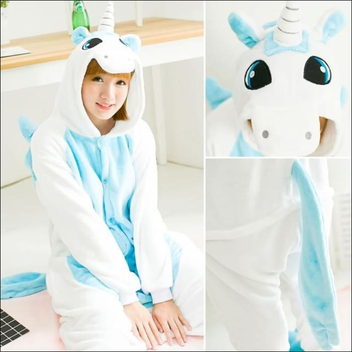 Adult Animal One Piece Unisex Pajamas - Blue Unicorn / S