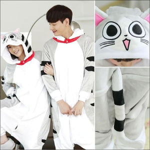 Adult Animal One Piece Unisex Pajamas - Cheese cat / S