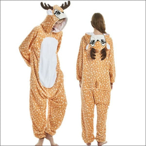 Adult Animal One Piece Unisex Pajamas - deer / S