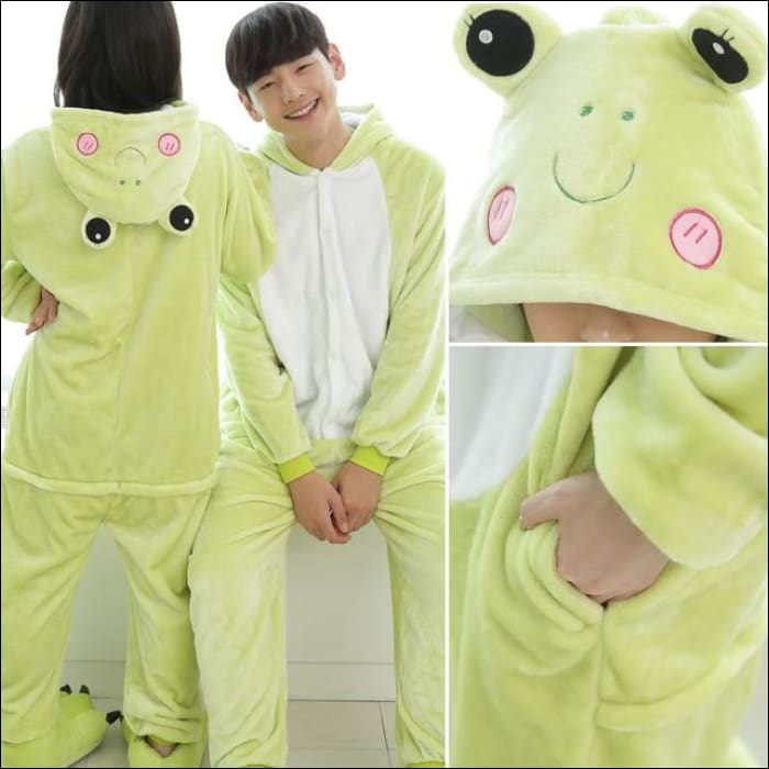 Adult Animal One Piece Unisex Pajamas - frog / S