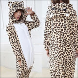 Adult Animal One Piece Unisex Pajamas - leopard / S