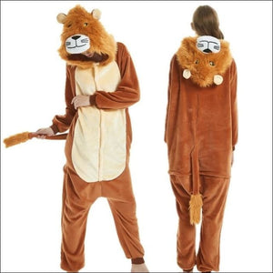 Adult Animal One Piece Unisex Pajamas - lion / S
