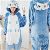 Adult Animal One Piece Unisex Pajamas - owl / S