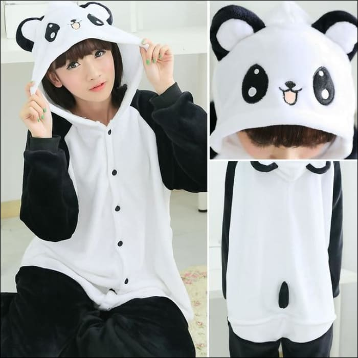 Adult Animal One Piece Unisex Pajamas - panda gb / S