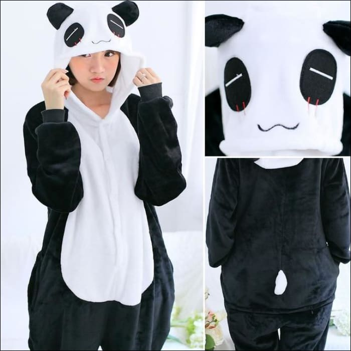 Adult Animal One Piece Unisex Pajamas - panda hy / S