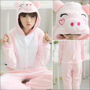 Adult Animal One Piece Unisex Pajamas - pig / S