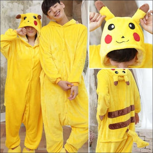 Adult Animal One Piece Unisex Pajamas - Pikachu / S