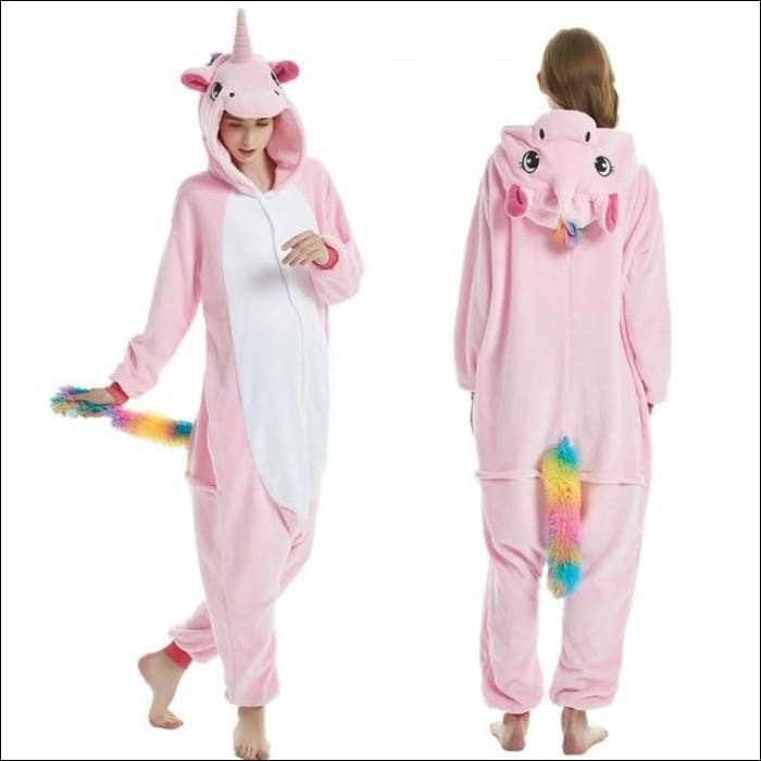 Adult Animal One Piece Unisex Pajamas - Pink Pegasus / S