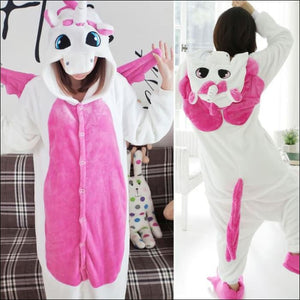 Adult Animal One Piece Unisex Pajamas - Pink Unicorn / S