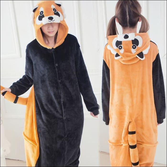 Adult Animal One Piece Unisex Pajamas - Raccoon / S
