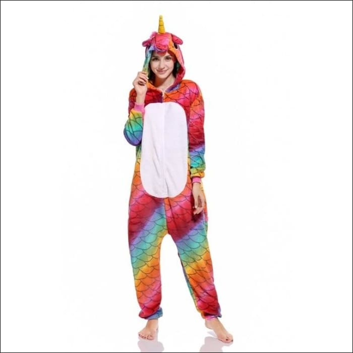 Adult Animal One Piece Unisex Pajamas - Scale unicorn / S