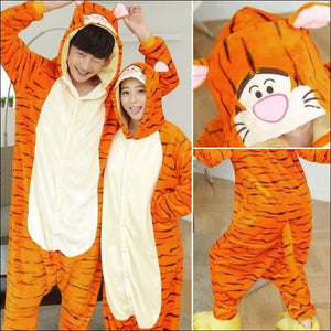 Adult Animal One Piece Unisex Pajamas - tiger / S
