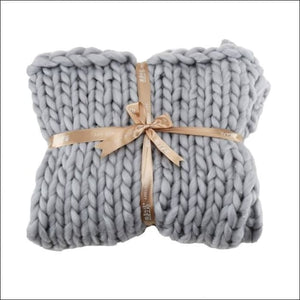 Chunky Wool Throw Blanket - C / 60x60cm / China