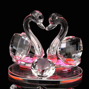 Swan Crystal Glass Figurines Collection Diamond Swan Animal Paperweight Table Ornament Wedding Home Decor Kids Birthday Gifts - F / China -